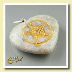 Corazón con Pentagrama grabado en Piedra luna