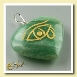 Heart pendant with the Udyat  (Eye of Horus) engraved - green aventurine