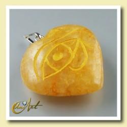Colgante Udyat  - Ojo de Horus (Corazón) - cuarzo dorado