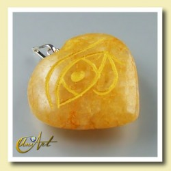 Heart pendant with the Udyat  (Eye of Horus) engraved - golden quartz
