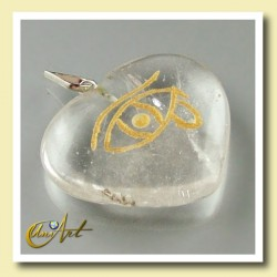 Heart pendant with the Udyat  (Eye of Horus) engraved - cristal quartz