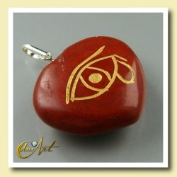 Heart pendant with the Udyat  (Eye of Horus) engraved - red jasper