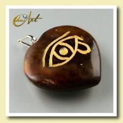 Heart pendant with the Udyat  (Eye of Horus) engraved - tiger eye