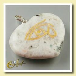 Colgante Udyat  - Ojo de Horus (Corazón) - piedra luna