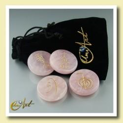 Kit cuarzo rosa con símbolos Reiki - modelo 1