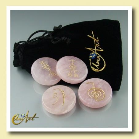 Set of rose quartz with Reiki symbols - model 1