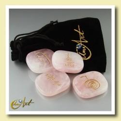 Kit cuarzo rosa con símbolos Reiki - modelo 2