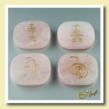 Set of rose quartz with Reiki symbols - rectangular stones
