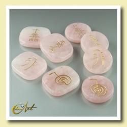 Kit cuarzo rosa con símbolos Reiki