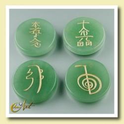 Set of green quartz with Reiki symbols - Round stones