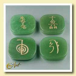 Set of green quartz with Reiki symbols - rectangular stones