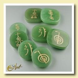 Set of green quartz with Reiki symbols