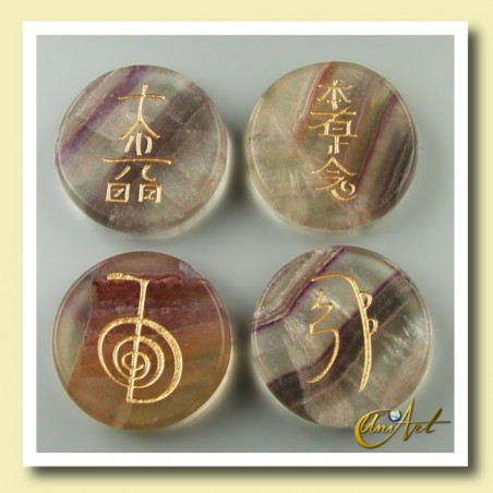 Set of fluorite with Reiki symbols - round stones