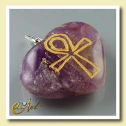 Ankh (Egyptian cross) - Engraved Heart Pendant - Amethyst