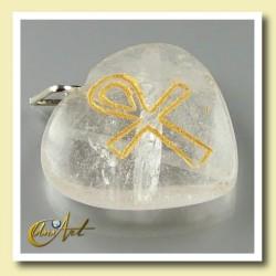 Ankh ( Cruz Egipcia ) - Colgante Corazón grabado - cuarzo cristal