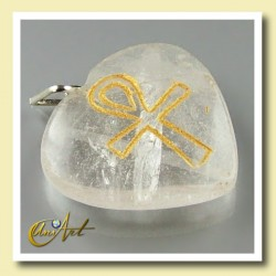 Ankh (Egyptian cross) - Engraved Heart Pendant - Crystal Quartz