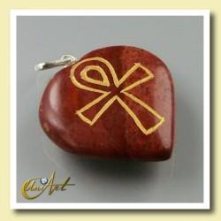 Ankh ( Cruz Egipcia ) - Colgante Corazón grabado - jaspe rojo