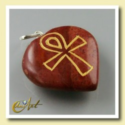 Ankh (Egyptian cross) - Engraved Heart Pendant- red jasper