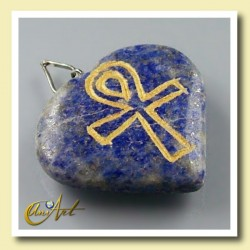 Ankh (Egyptian cross) - Engraved Heart Pendant - Lapis Lazuli