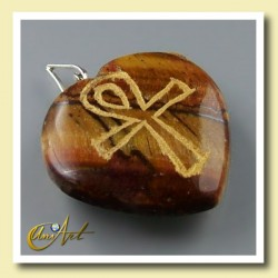 Ankh (Egyptian cross) - Engraved Heart Pendant - Tiger Eye