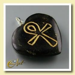 Ankh ( Cruz Egipcia ) - Colgante Corazón grabado - turmalina negra