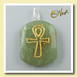 Pendant engraved with Ankh (Egyptian Cross) - Green Aventurine