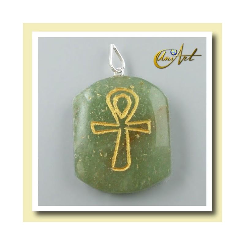 Colgante grabado con Ankh (Cruz Egipcia) - aventurina verde