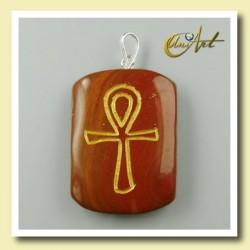 Colgante grabado con Ankh (Cruz Egipcia) - jaspe rojo