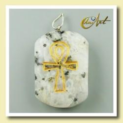 Colgante grabado con Ankh (Cruz Egipcia) - piedra luna