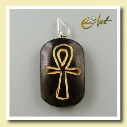 Colgante grabado con Ankh (Cruz Egipcia) - turmalina negra