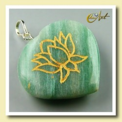 Lotus flower - heart pendant green aventurine