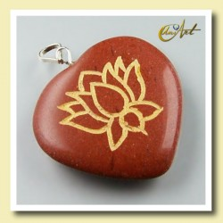 Lotus flower - heart pendant of red jasper