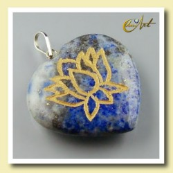 Lotus flower - heart pendant of lapis - lazuli