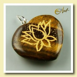 Lotus flower - heart pendant of tiger eyer