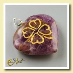 Clover heart pendant of amethyst