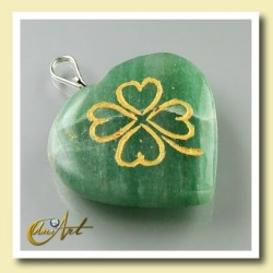 Clover heart pendant of green aventurine
