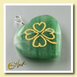 Colgante corazón con trébol - aventurina verde