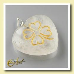 Clover heart pendant - crystal quartz