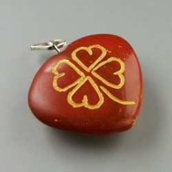 Clover heart pendant of red jasper