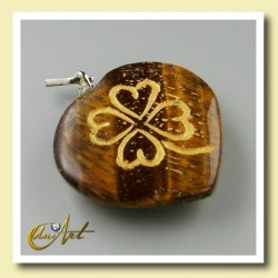 Clover heart pendant of tiger eyes