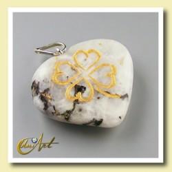 Clover heart pendant of moonstone