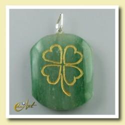 Clover - pendant engraved of green aventurine