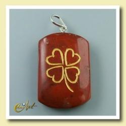 Clover - pendant engraved of red jasper