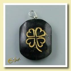 Clover - pendant engraved of black turmaline