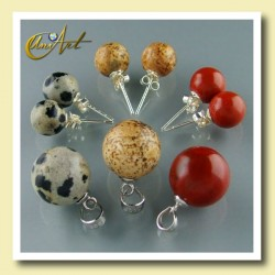 Jasper earrings with pendant