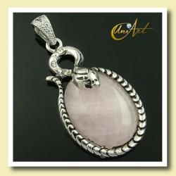 snake pendant - rose quartz