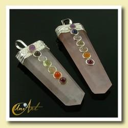 7 Chakras Pendant - rose quartz