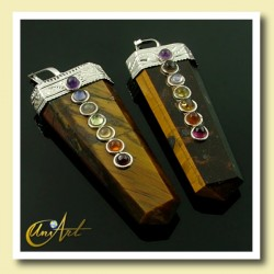 7 Chakras Pendant - tiger eye
