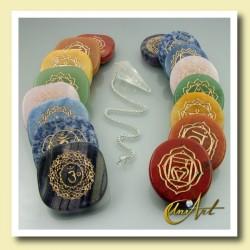 Kit de los Chakras, piedras con símbolos y péndulo