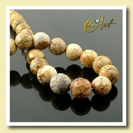 Picture Jasper Bead - 10 mm Round faceted - detail